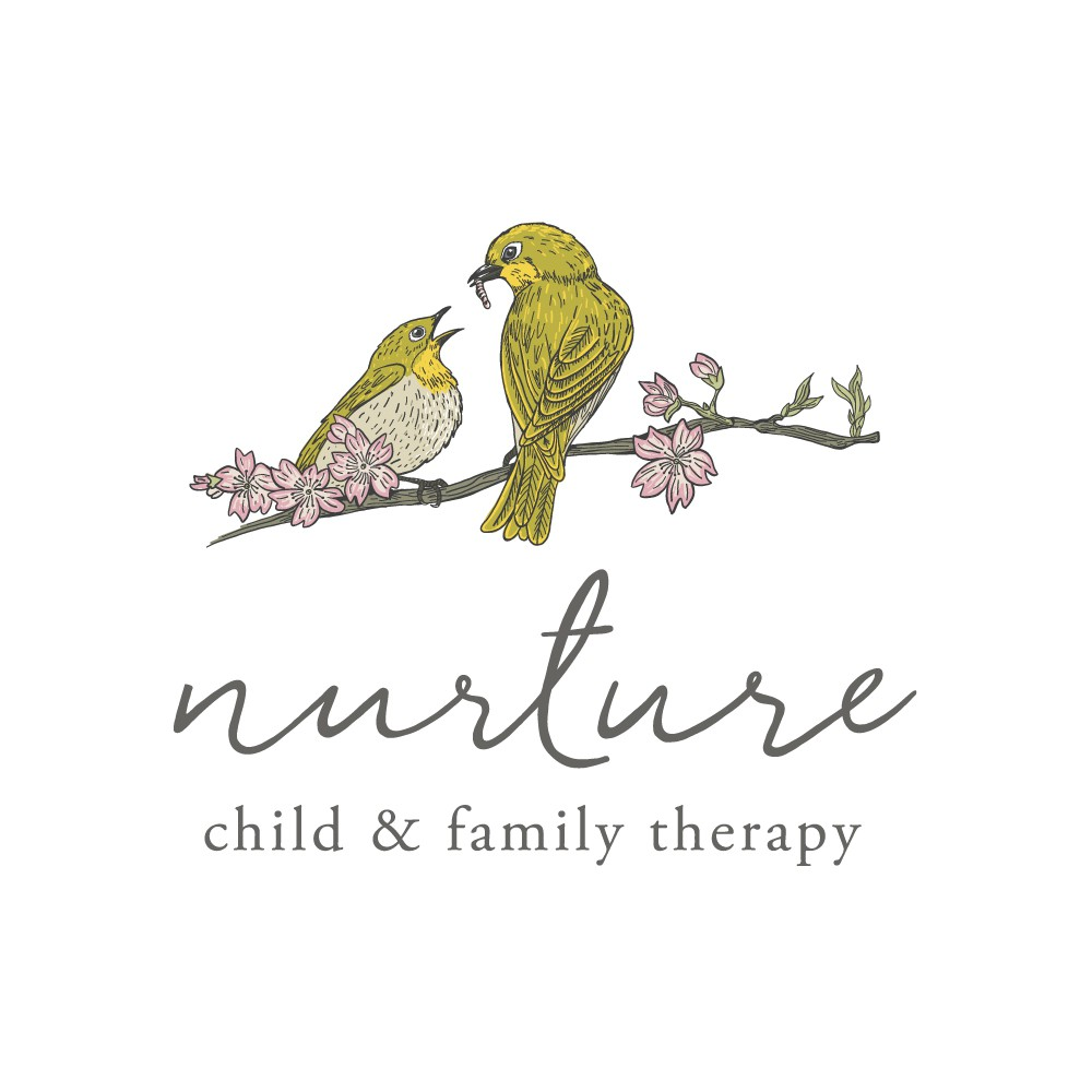 """Japanese inspired logo with birds on cherry blossom branch for, """"Nurture"""" therapy business"""