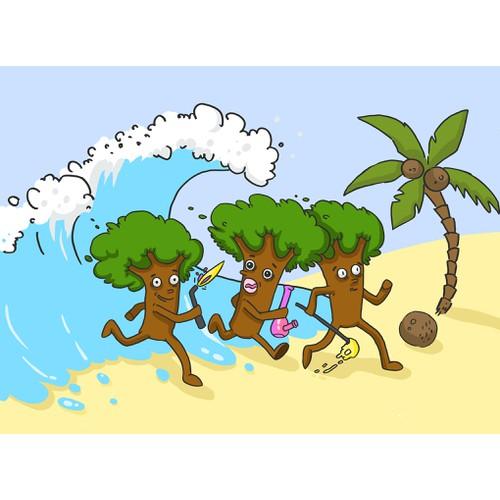 In contest Cartoon Trees on the Beach