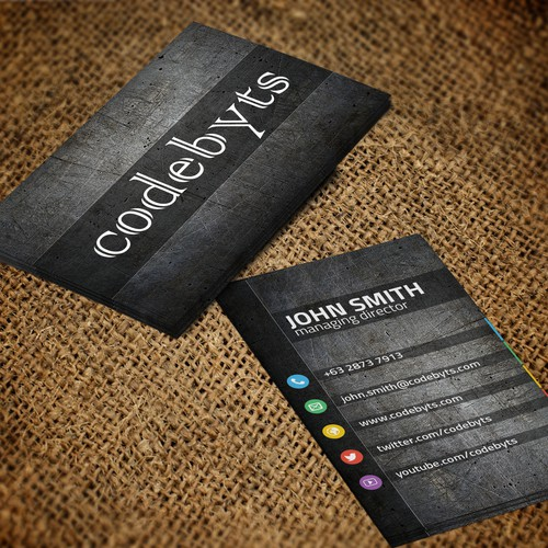Innovative and textured Business Cards for codebyts