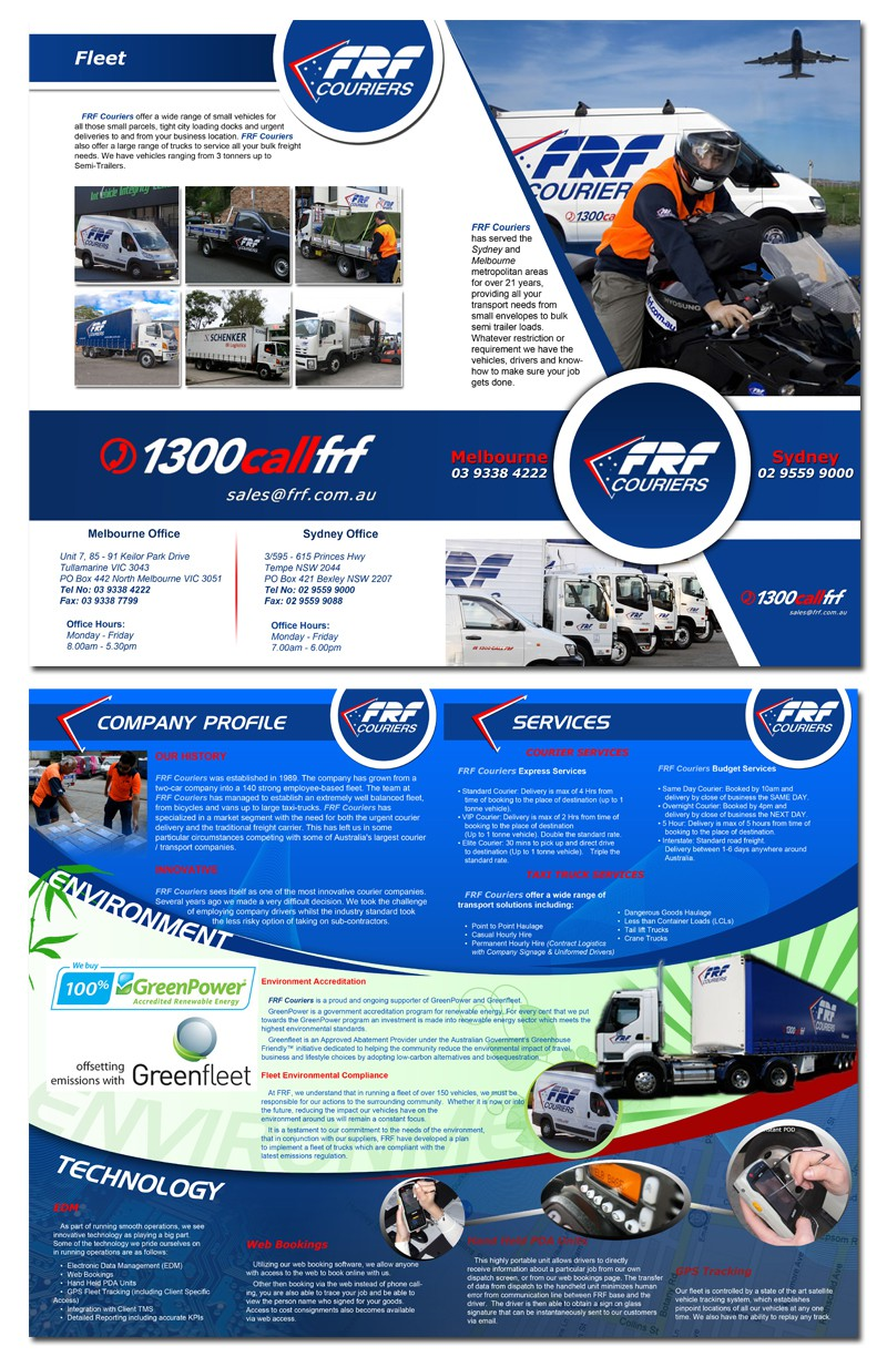 FRF Couriers needs a new print or packaging design