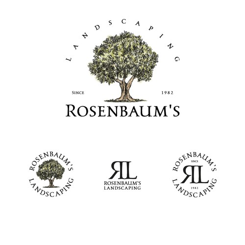 Logo and brand identity for Rosenbaum's Landscaping