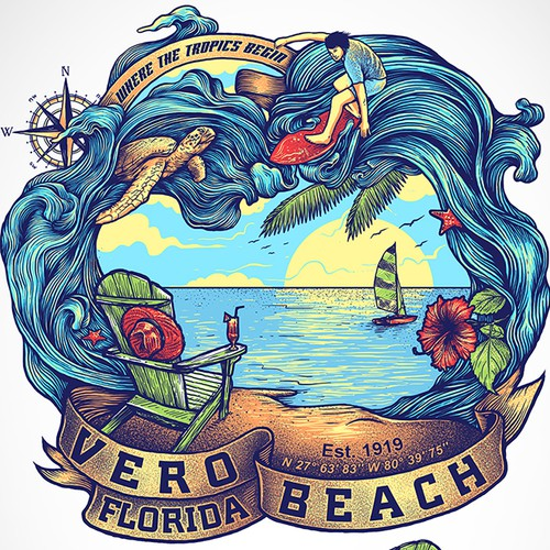 Beach-themed T-shirt design for beach town