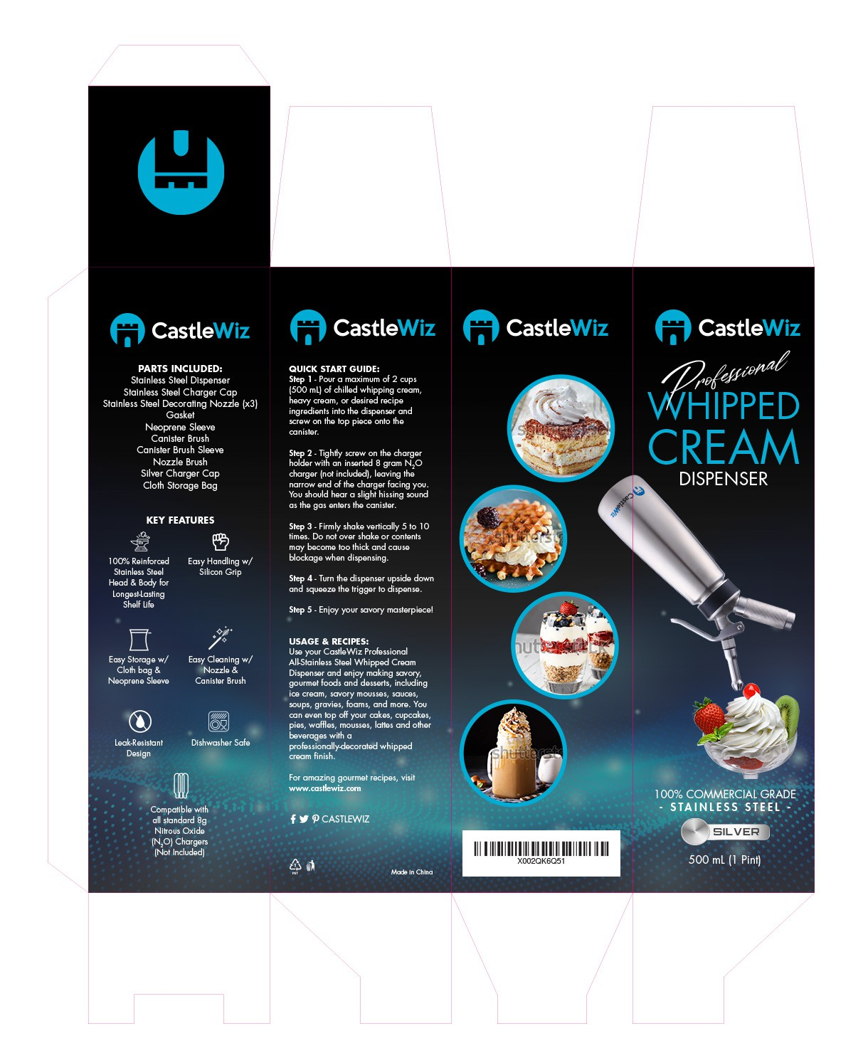Whipped Cream Dispenser for creating beautiful, silky whipped cream on mouthwatering desserts