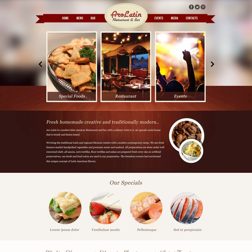Create the next website design for AroLatin Restaurant & Bar