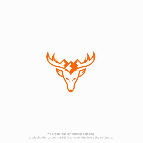 deer logo with a natural picture of the mountain on its horns.