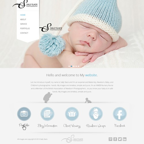 landing page for Sally Slack Photography