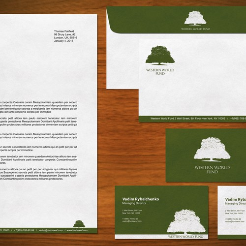 Create the next stationery for Western World Fund