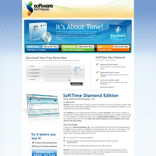 One Page Landing page for HR Software