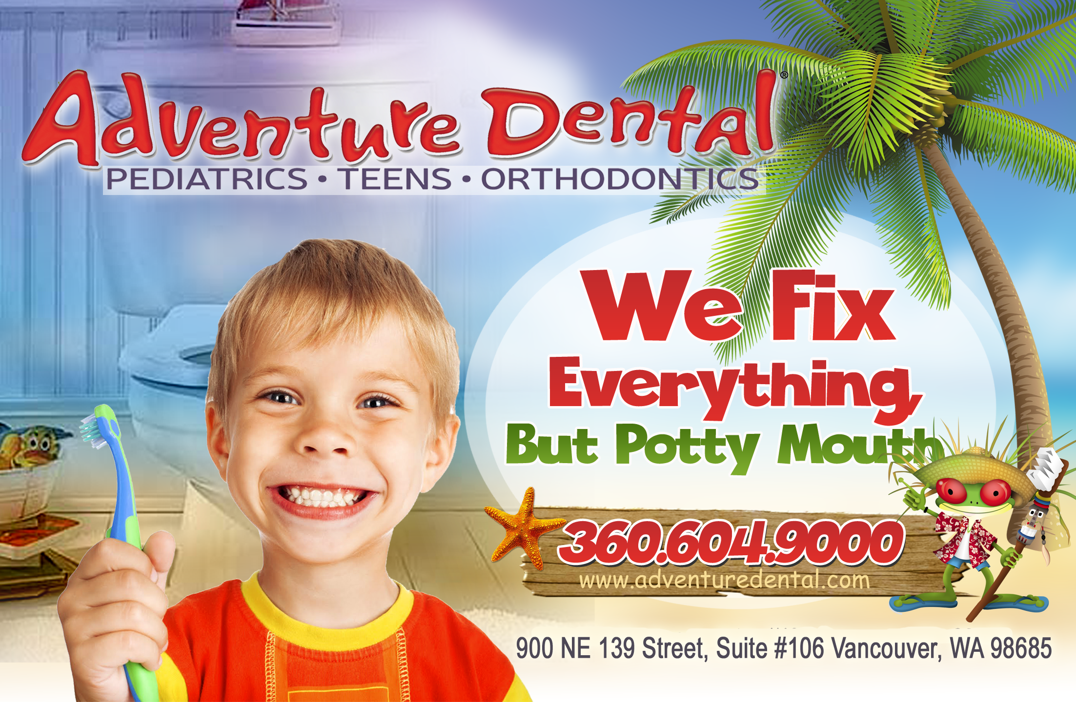Half Page magazine ad for Fun, Colorful Island themed dental office!