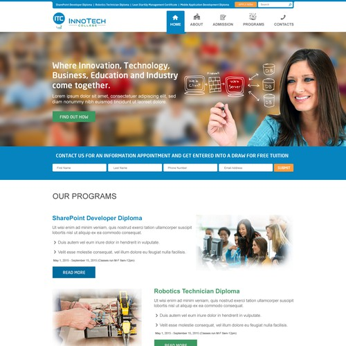 Website for modern high-tech vocational college