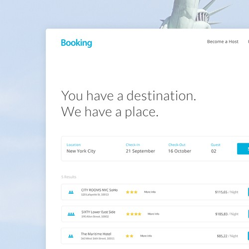 Booking web page design