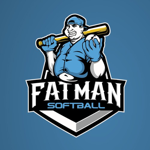 FAT MAN cartoon character for the fatman softball logo with a sporty theme