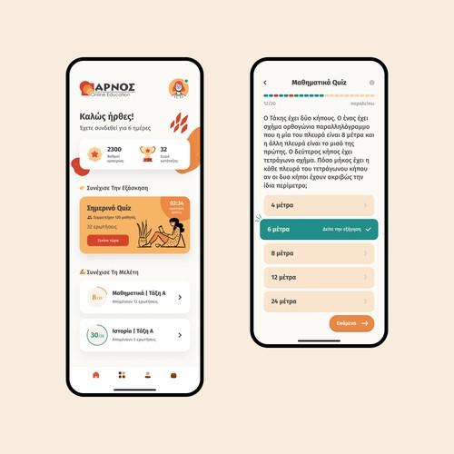 Mobile UI Design for Educational Quiz App