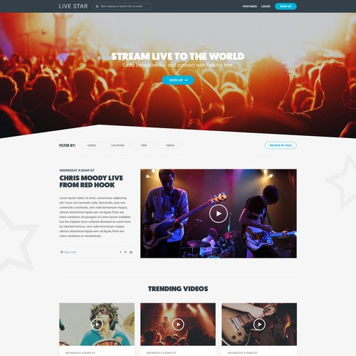 Stunning Live Streaming Video Entertainment Site