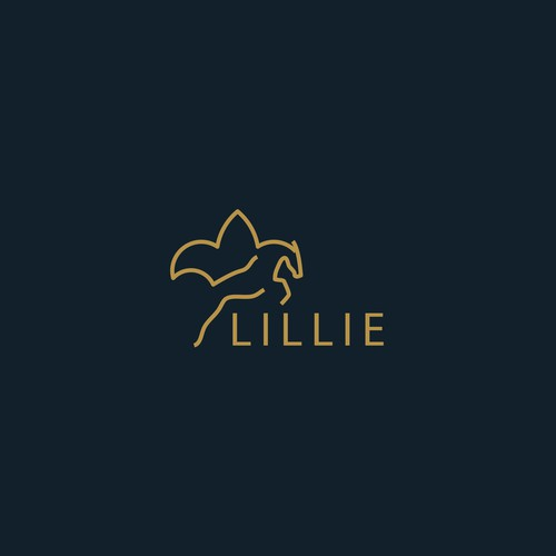 Lineart logo design for a horse jumping show