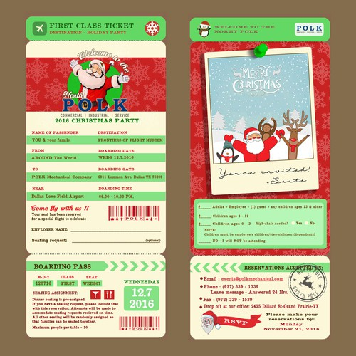 Boarding-pass design Christmas invitation for POLK Mechanical Company