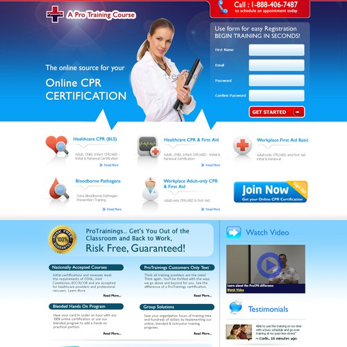 Create a landing page design for ProTrainings