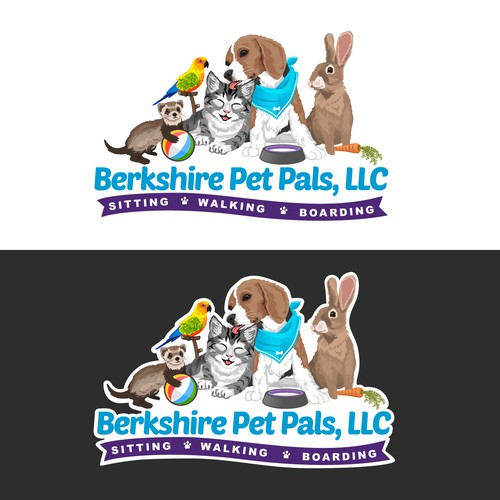 Illustrated Logo for Berkshire Pet Pals, LLC