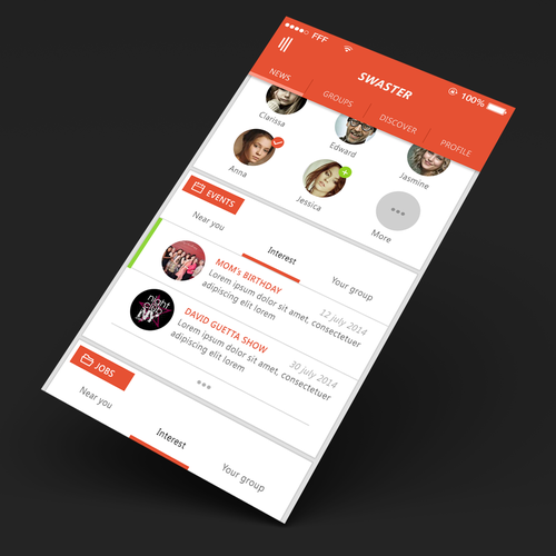 Social App Design. Eligible for additional pages.