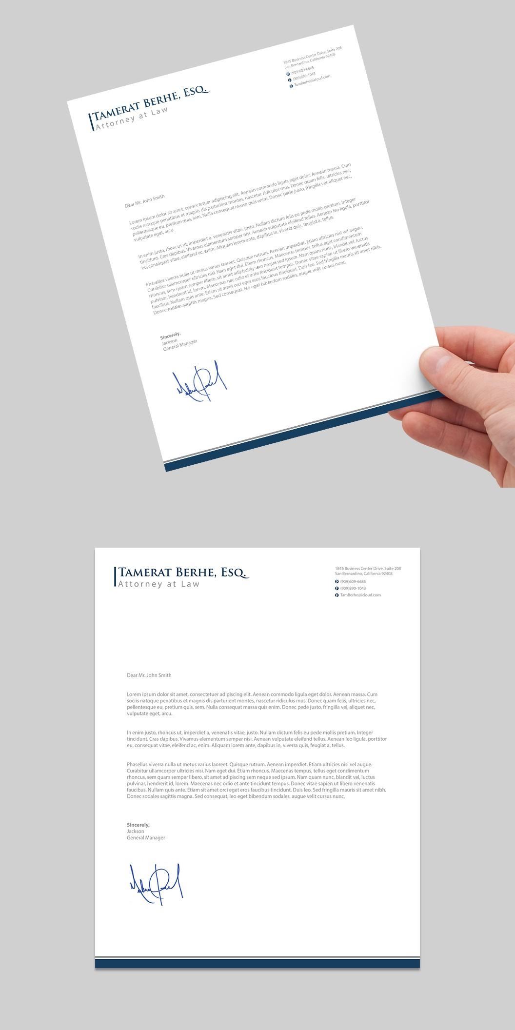 Letterhead Design for Attorney's Solo Law Practice