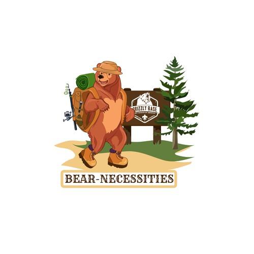 Bear - Necessities. travel Illustration. Character