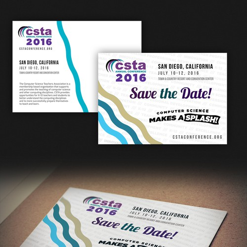 Simple and fun postcard for the 2016 CSTA conference.