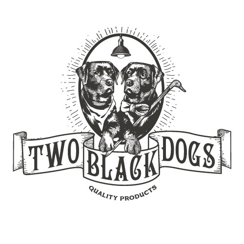 Two black dogs