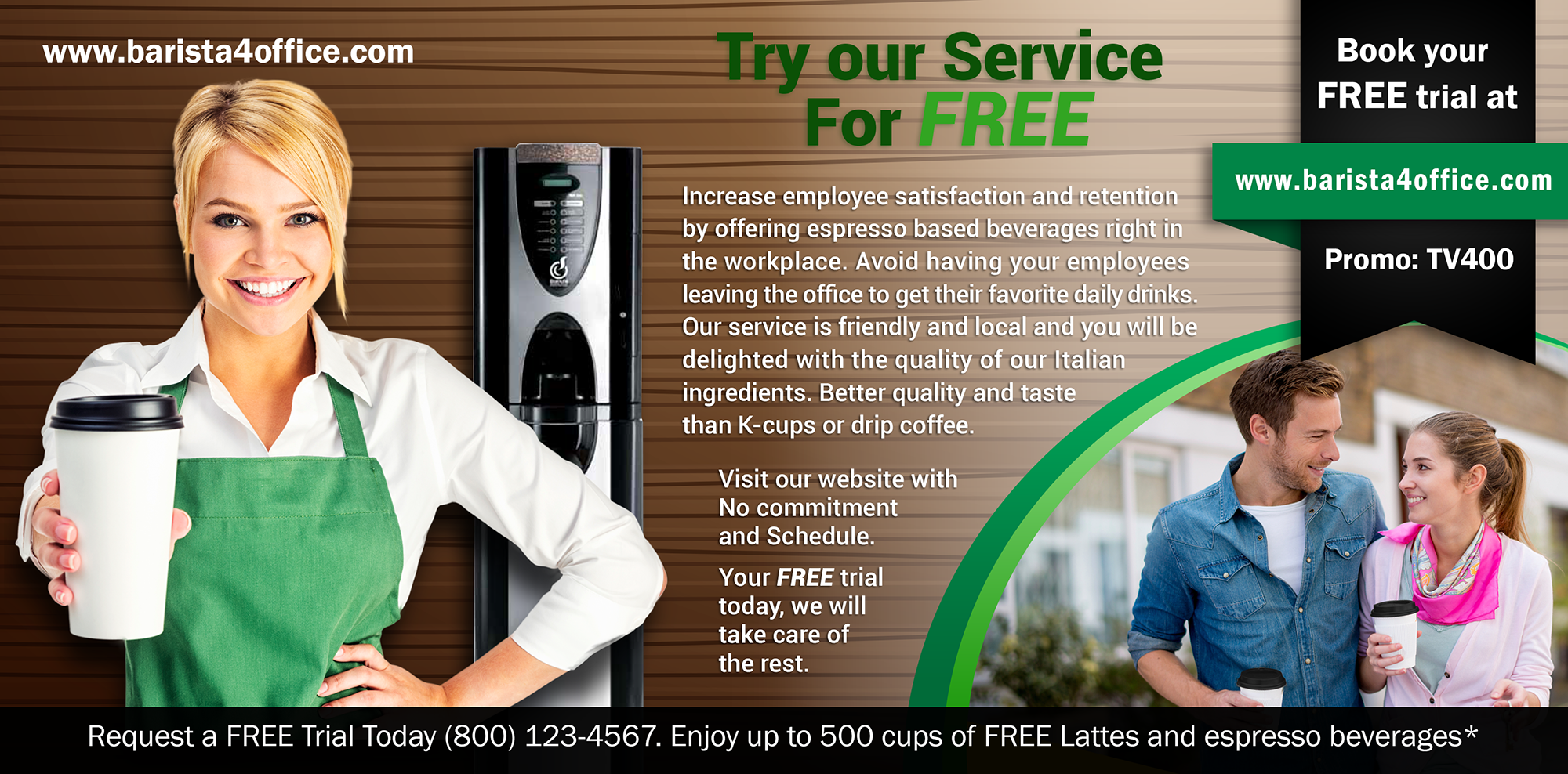 Create persuasive flyer for new gourmet coffee service business