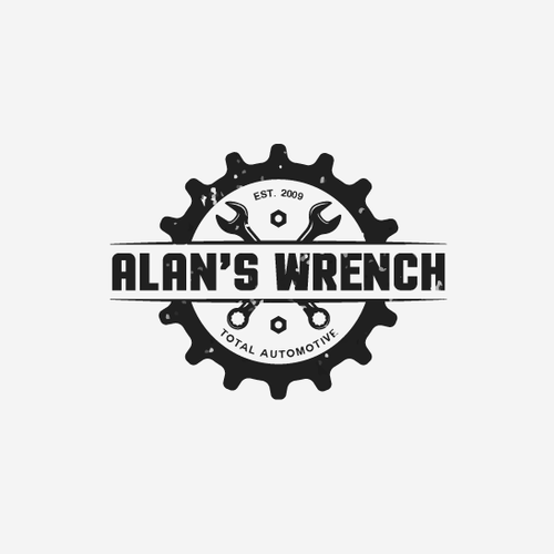 Alan's Wrench family owned Automotive repair facility needs logo with a vintage fee