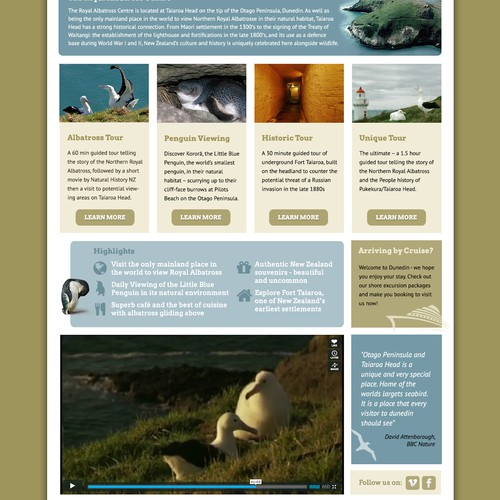 New website design wanted for Royal Albatross Center
