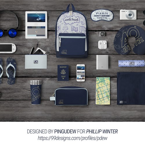 Create a cool merchandise design suitable for various travel items
