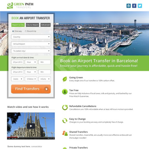 Green Path Transfers needs a new landing page