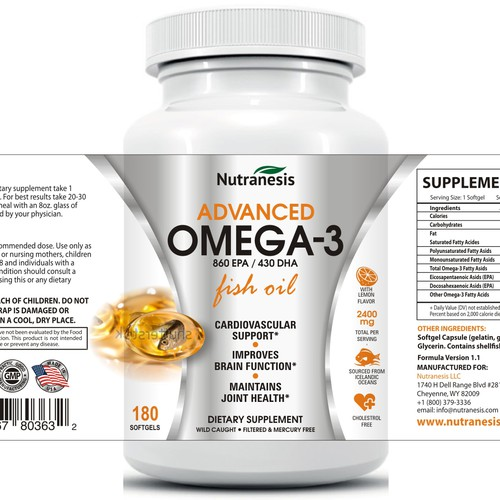 Omega 3 fish oil label design