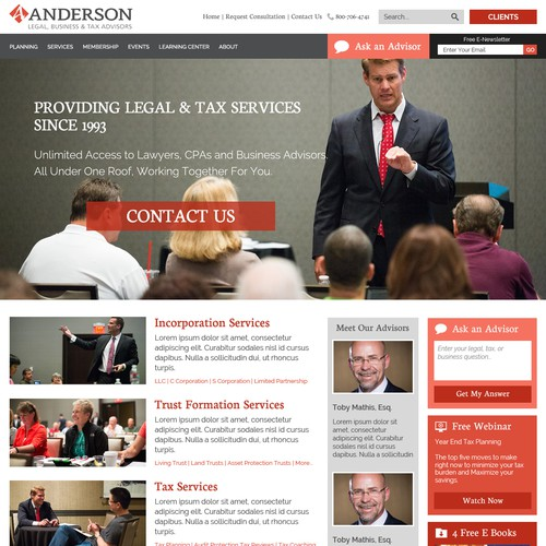 Redesign a more modern home page of a successful legal and tax practice