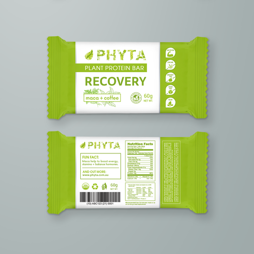 "Packaging design for Plant Protein Bar ""Phyta"""