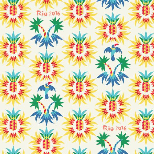 Rio pattern. Pine-apples and palms.