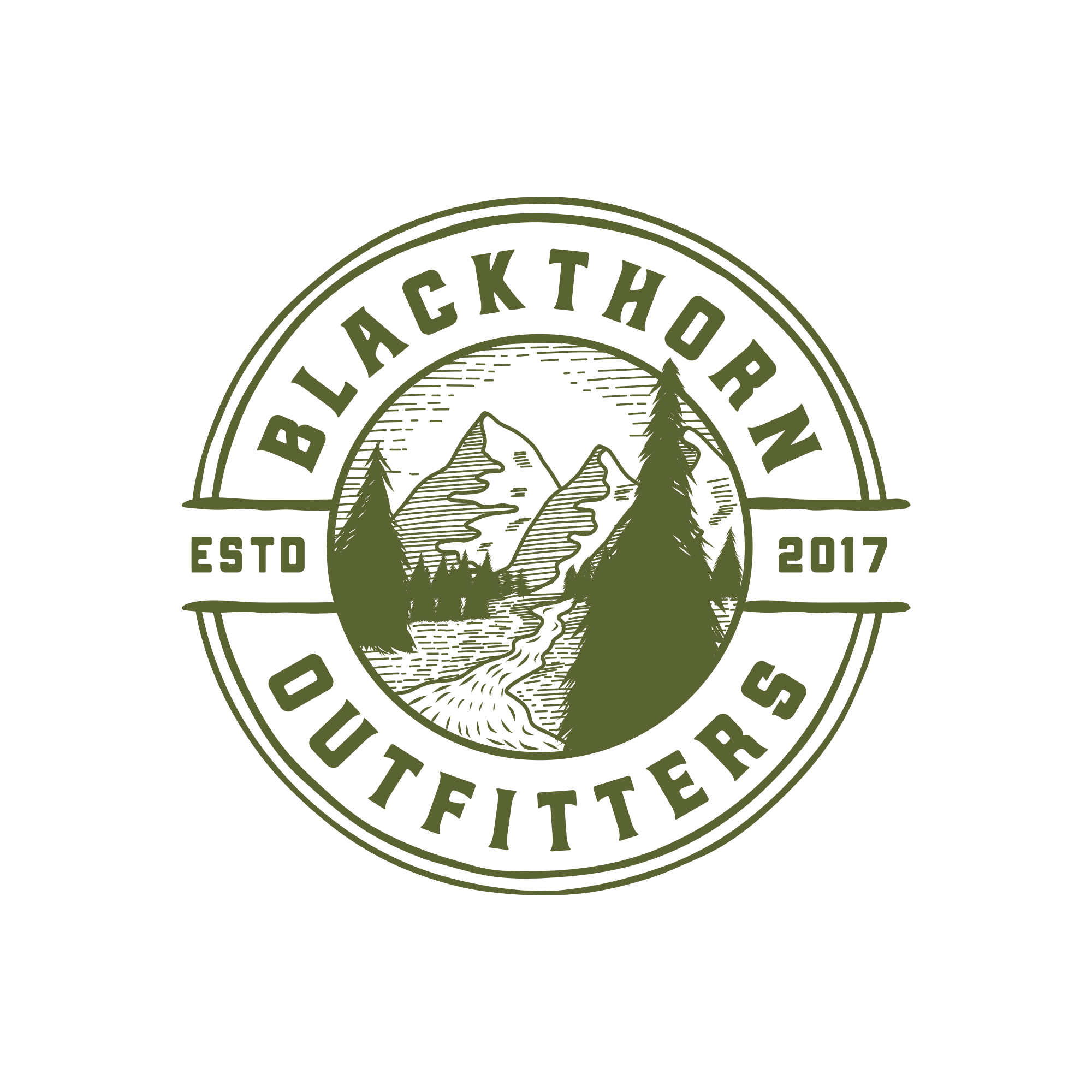Create a vintage woodsman logo for Blackthorn Outfitters