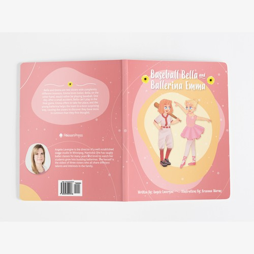 """Proposal for storybook cover for """"Baseball Bella and Ballerina Emma"""""""