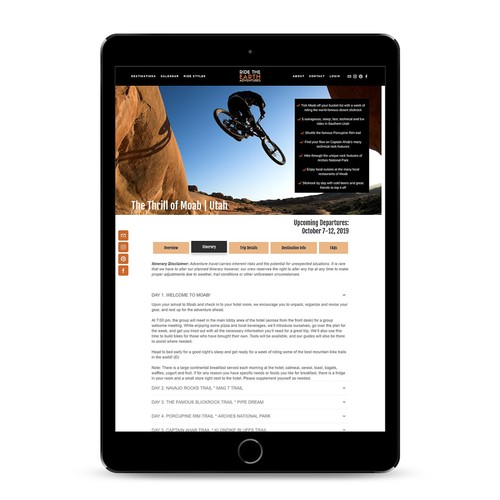 Bold website for adventure company