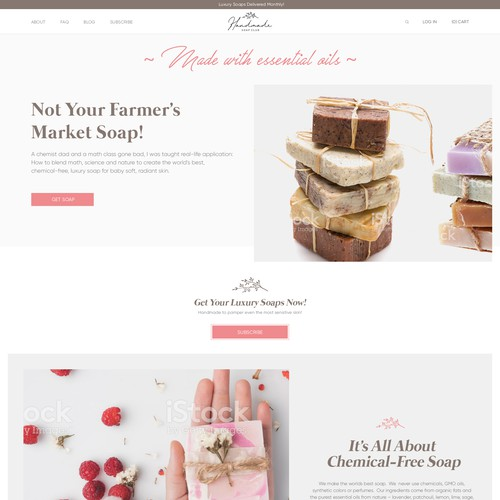 Handmade Soap Club Website Design