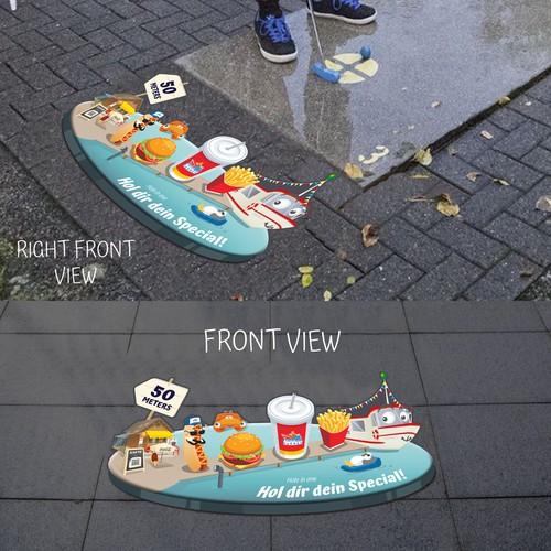 Fast Food Restaurant 3D Floor Poster Design