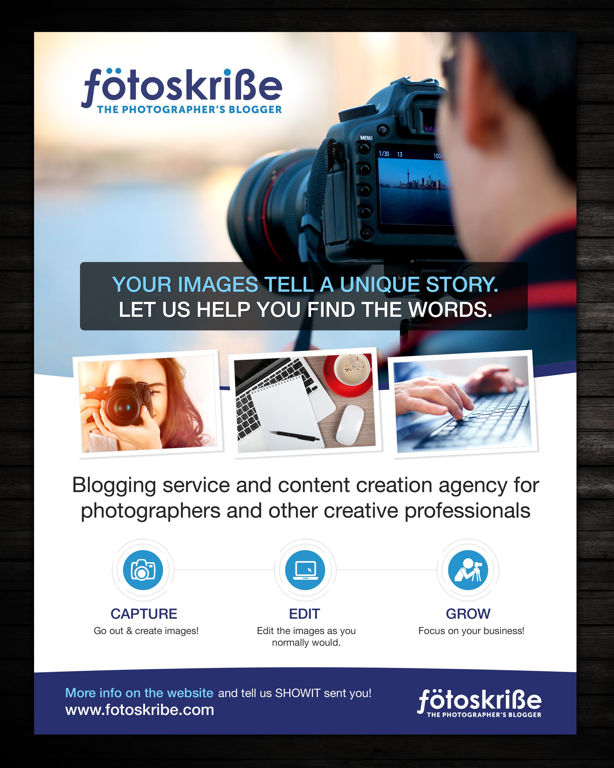 Ebook Ad for Fotoskribe, the Photographer's Blogger