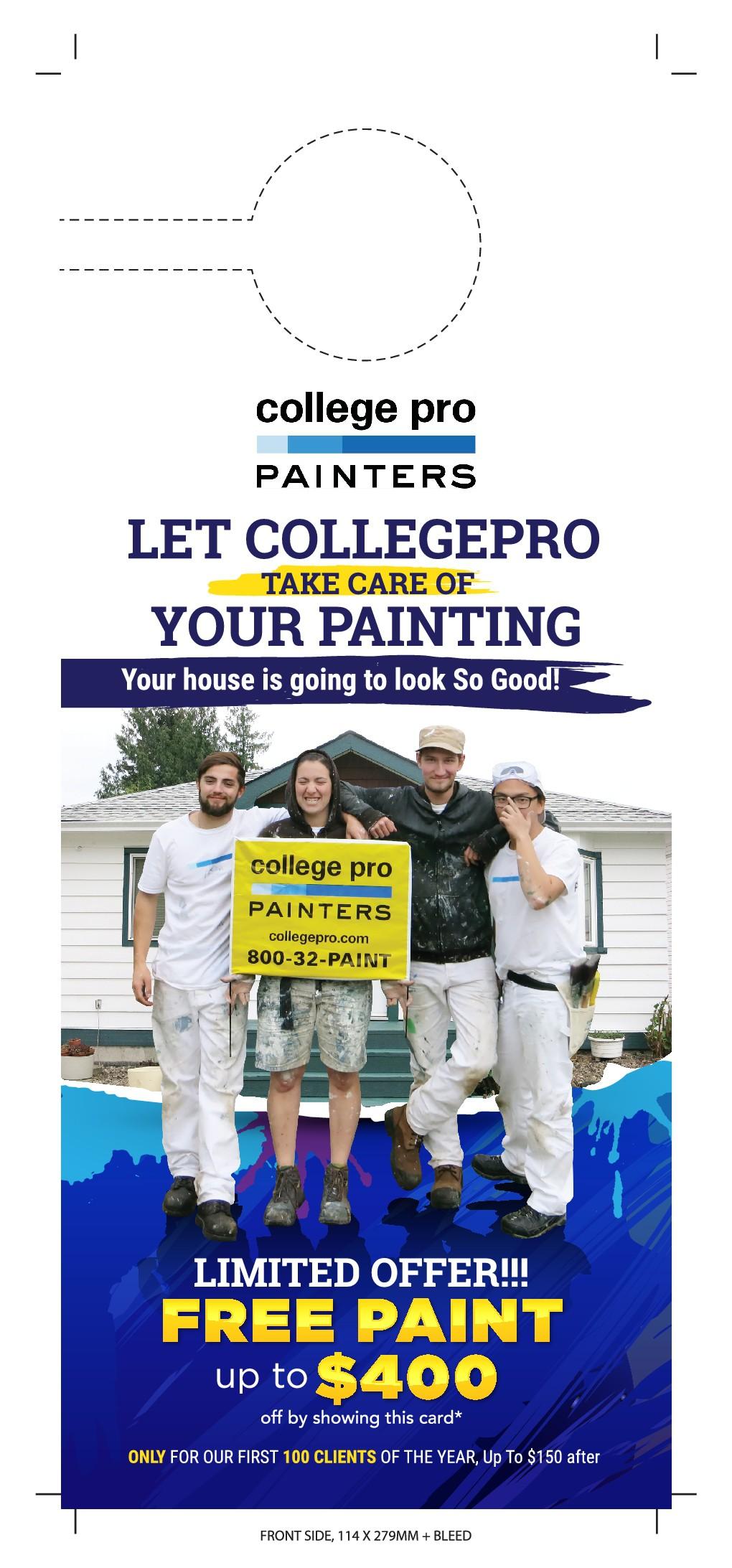 CollegePro Painters need a powerful new door hanger design!