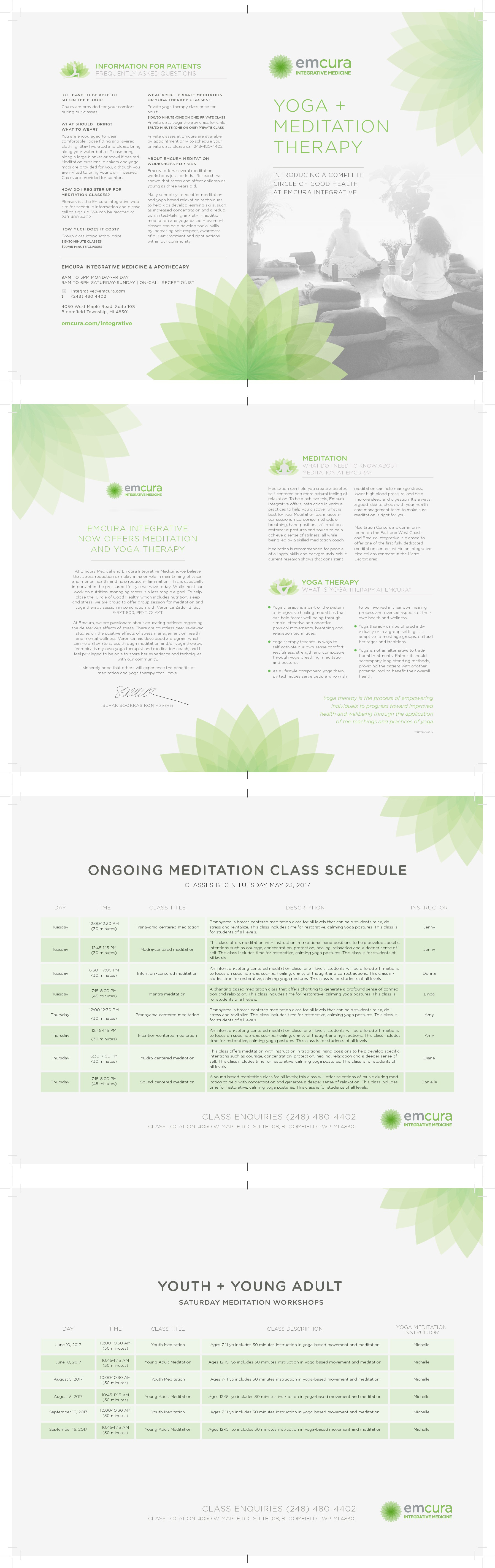 Create a relaxing brochure for a new meditation class