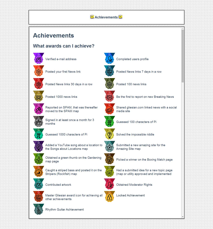 Achievement Icons for Gliesians.com