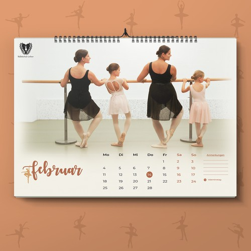 Clean and Elegant Calendar for Ballet School
