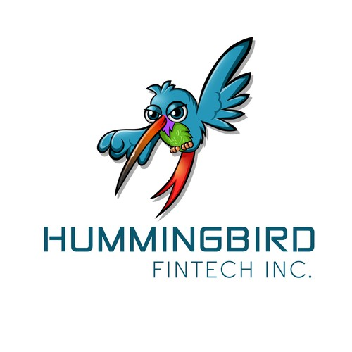 Design a bright and fun hummingbird themed logo for a startup