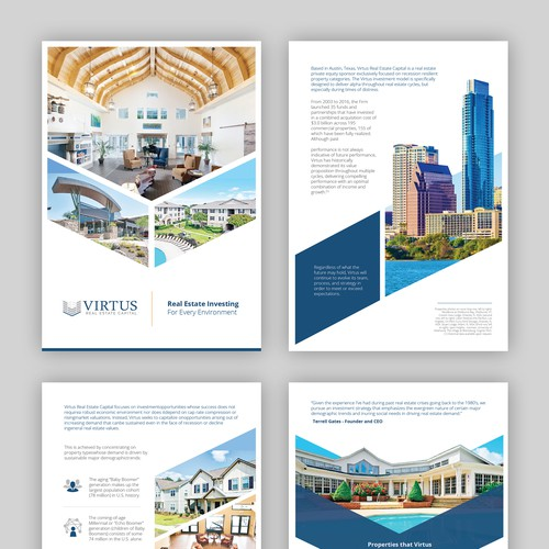 Modern cool brochure for Virtus Real Estate