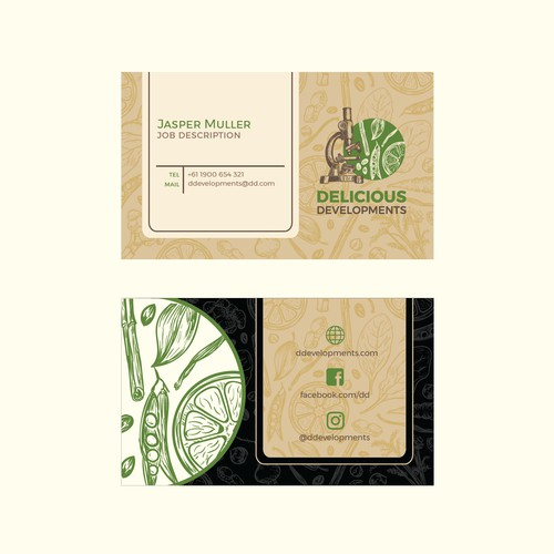 Business card for Delicious Developments