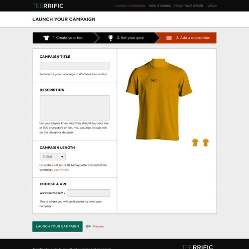 T-Shirt Creation Interface